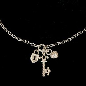 Judith Ripka Heart Lock and Key Necklace